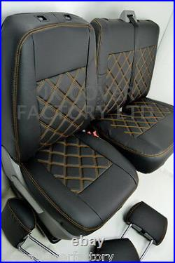 1+2 Renault Trafic Vauxhall Vivaro Van Seat Covers Orange Bentley A19