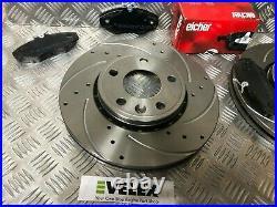 DRILLED & GROOVED FRONT Brake DISCS & PADS RENAULT TRAFFIC VAUXHALL VIVARO