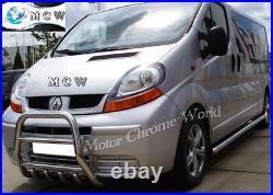 Fits Renault Trafic, Vivaro Primastar Chrome Axle Nudge Bull Bar 2001-2014 High
