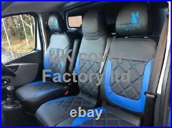 Van Seat Covers Blue Bentley For Renault Trafic Vauxhall Vivaro 2015+ Vans 24